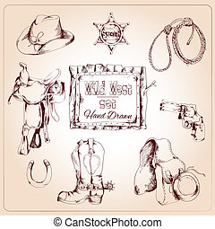 Wild west set - Wild west cowboy hand drawn set with saddle...