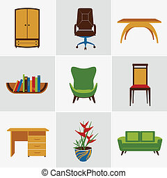 Furniture flat icons - Furniture flat decorative icons set...