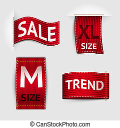 Clothing labels set - Clothing size trend sale red label...