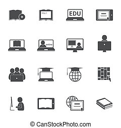 Online Education Icon Set - Online education e-learning...