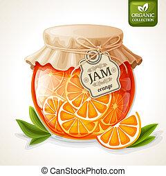 Orange jam jar - Natural organic orange citrus jam in glass...