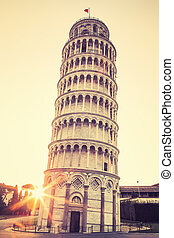 Pisa leaning tower, special photographic processing - Pisa...