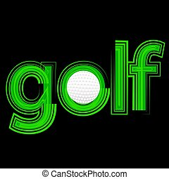 golf icon - colorful illustration with golf icon on a black...