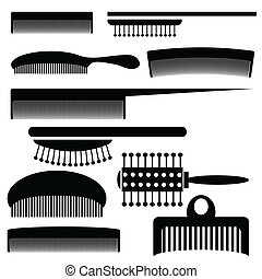 silhouettes of combs - illustration with silhouettes of...