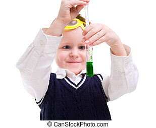 Early education - Young boy performing chemistry experiments