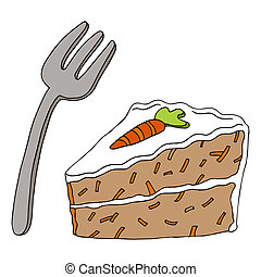 Carrot Cake - An image of a slice of carrot cake and a fork.