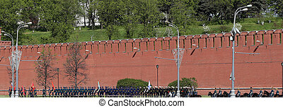 Rehearsal of military parade on Red Square Moscow, Russia...