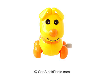 Plastic toy dog. Isolated on white....
