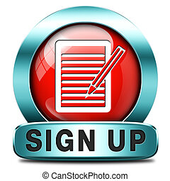 sign up icon - sign up or apply now icon and subscribe here...