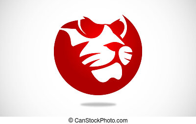 lion abstract with glasses - logo or icon for lion and mode...