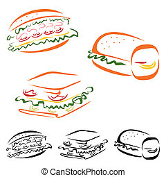 Food symbols - Collection of fast food icons on white