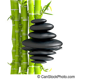 zen basalt stones with bamboo - Zen concept with bamboo and...