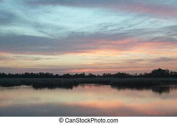 Wetland landscape. Sunset. Tablas de Daimiel. Ciudad Real....