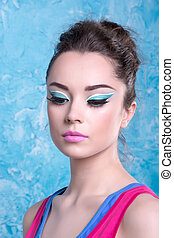 Girl with make-up in bright clothes, retro style - Girl with...