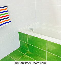 Bright bathroom in green and white colors