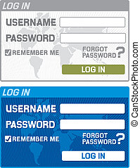 log in with username and password - log in form with...