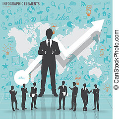 Business people silhouettes with application icon and...