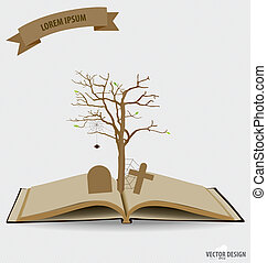 Tree on opened book Vector illustration