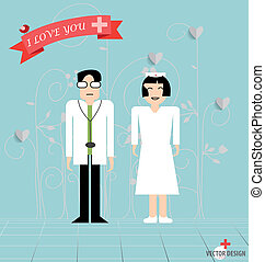 Doctor cartoon, two doctors man and woman. Vector...