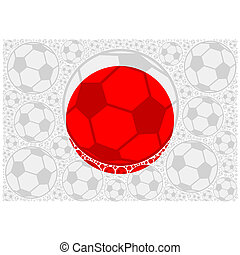 Japan soccer balls - Concept illustration showing the flag...