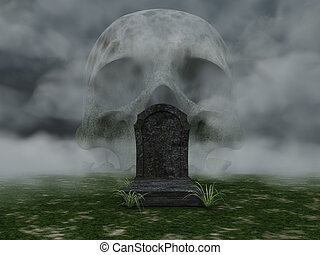 dead - grave and skull in fog - 3d illustration