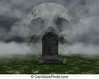 dead - grave and skull in fog - 3d illustration