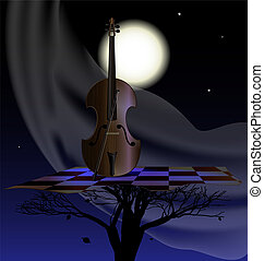 wind nightly music - night, moon, abstract tree and stringed...