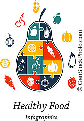 Healthy food infographics with the outline fresh puzzle pear...