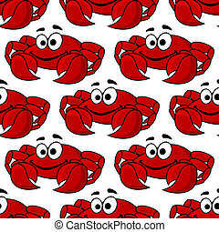 Seamless pattern of a cute happy red crab - Seamless...