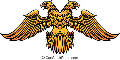Double headed golden Imperial eagle with fierce beaks and...