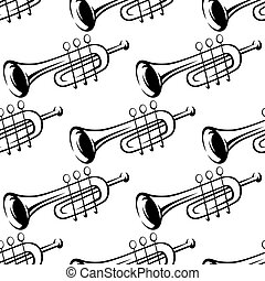 Seamless pattern of trumpets - Black and white sketch...