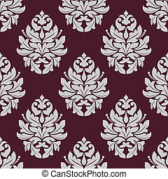 Vintage seamless pattern in carmine and white colors -...