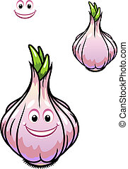 Sprouting fresh garlic bulb with individual cloves, a happy...
