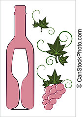Pink wine bottle and glass with floral deco elements