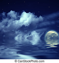 moon and stars in the cloudy sky reflected in water