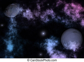 Space landscape with planets, nebulas and stars