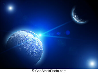Space landscape with planets and stars