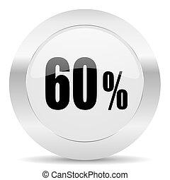 60 percent silver glossy web icon