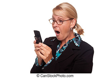 Shocked Blonde Woman Using Cell Phone