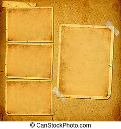 Old vintage album with paper frames for photos