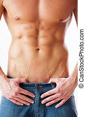 perfecto, posición, primer plano,  Torso, joven,  muscular, contra, Plano de fondo, blanco,  Torso, hombre