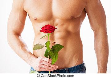 perfecto, posición, primer plano, ella, rosa, joven,  muscular, mientras, contra, Plano de fondo, tenencia, sorpresa, blanco, agradable,  Torso, solo, hombre
