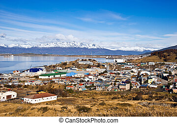 Ushuaia Colourful houses in the Patagonian city, Argentina -...