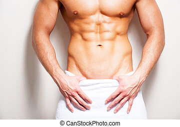 perfecto, posición, primer plano, toalla, cuerpo,  Shirtless, joven, contra, Plano de fondo, cubierto, blanco, macho, hombre