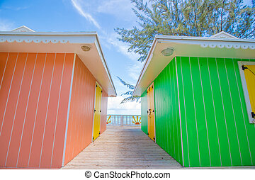 Traditional bright Caribbean houses