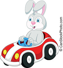 Rabbit cartoon driving car