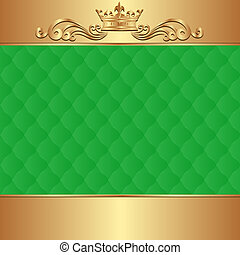 green background  - green and gold background with crown