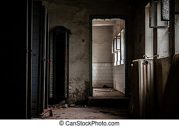 Dark room with steel lockers