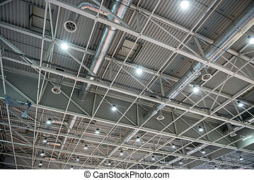 Metal roof structure of a modern building closeup