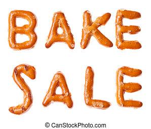 Alphabet pretzel written words BAKE SALE isolated - Words...
